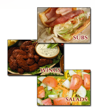 Pizza House West also offers subs, wings, and salads Delivered fresh